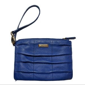 COLE HAAN blue leather pleated front wristlet